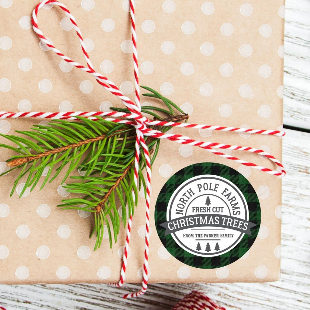 Christmas North Pole Farms Favor Sticker Set 2.5"