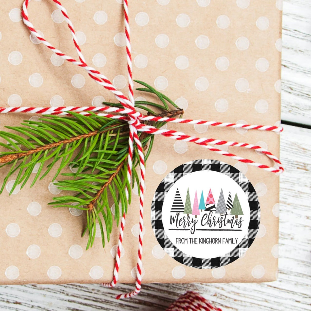 Merry Christmas Trees Favor Stickers 2.5"