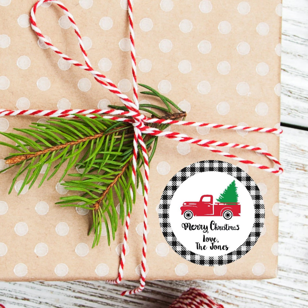 Christmas Vintage Truck Favor Sticker Set 2.5"