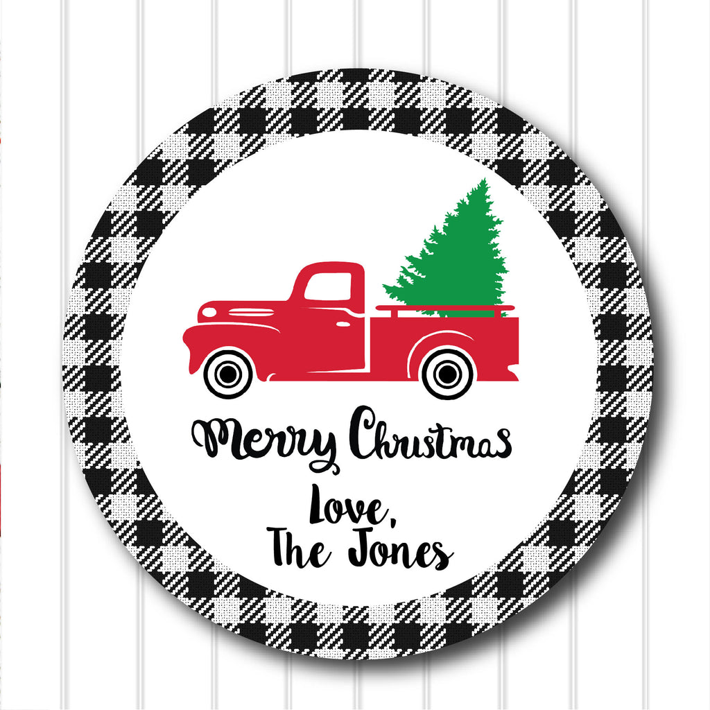 Christmas Vintage Truck Favor Stickers 2.5"