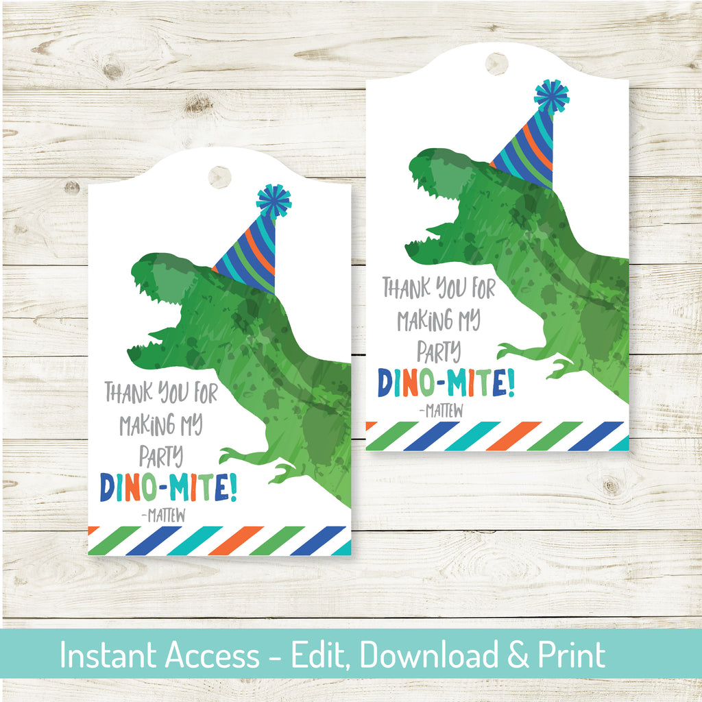 DINOSAUR PARTY FAVOR TAGS| DINOSAUR PARTY| EDITABLE