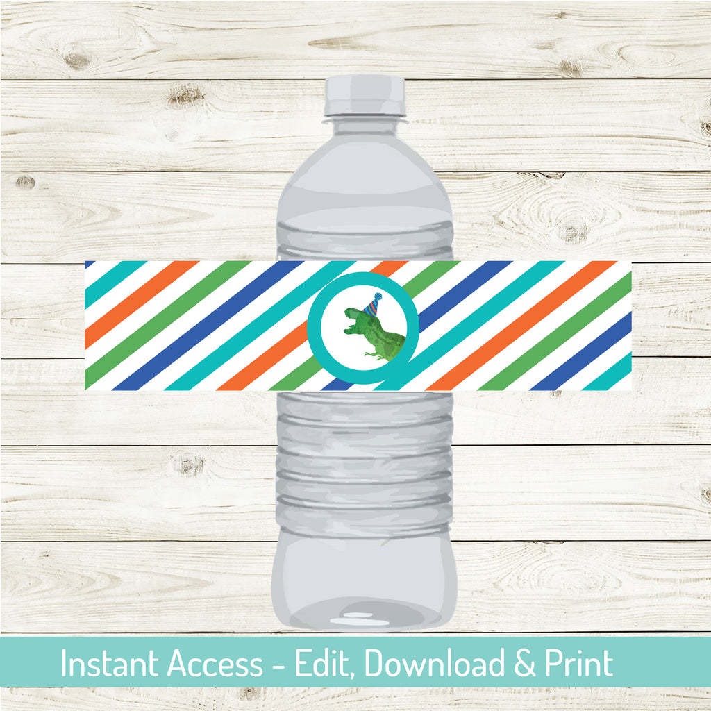 DINOSAUR PARTY WATER BOTTLE WRAPS| DINOSAUR PARTY| EDIATABLE