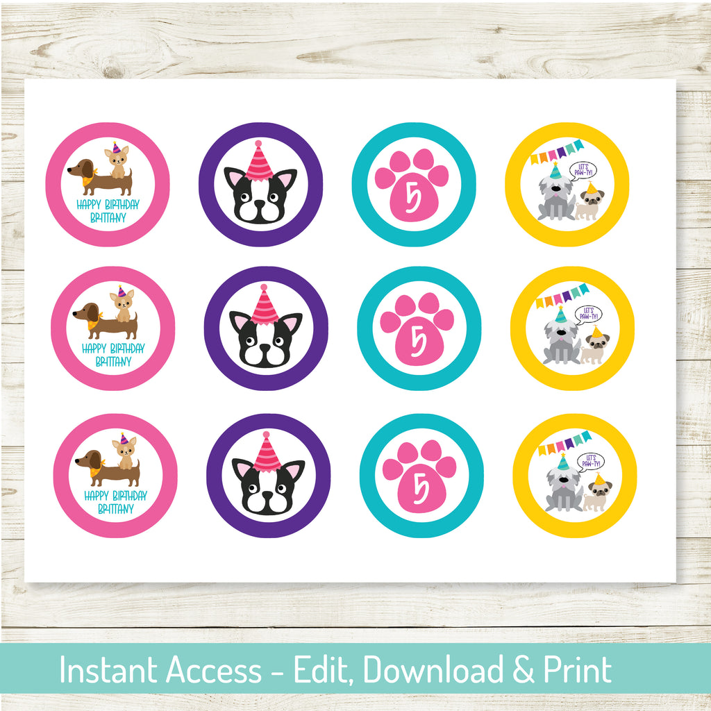 Puppy Party Cupcake Toppers| Puppy Party| Editable