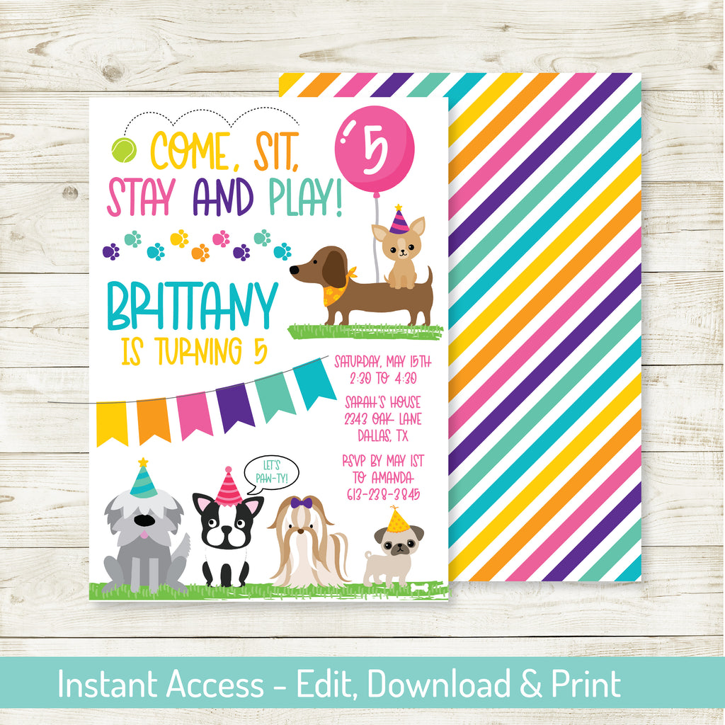 Puppy Party Invitation| Puppy Party| Editable