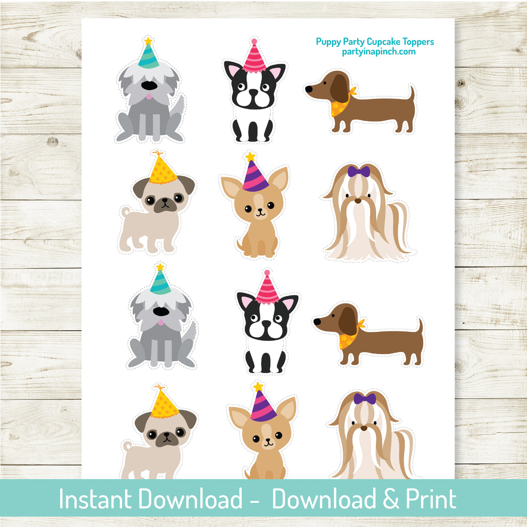 Puppy Cupcake Toppers| Puppy Party| Instant Download