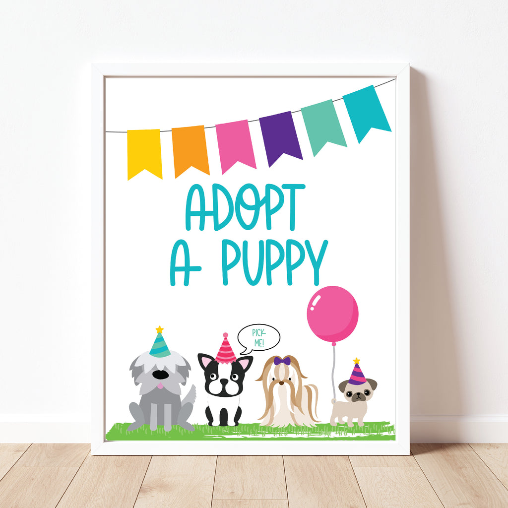 Adopt A Puppy Sign| Puppy Party| Instant Download