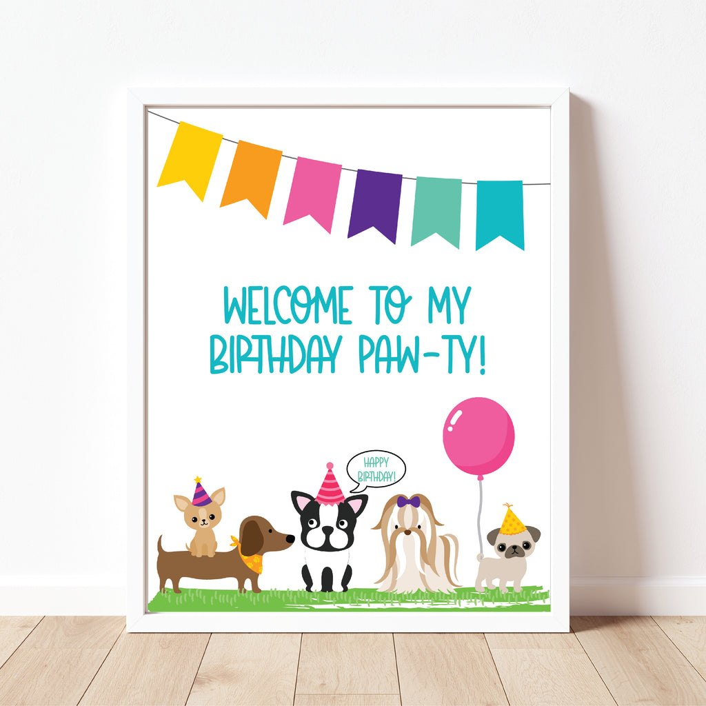 Welcome To My Party Sign| Puppy Party| Instant Download