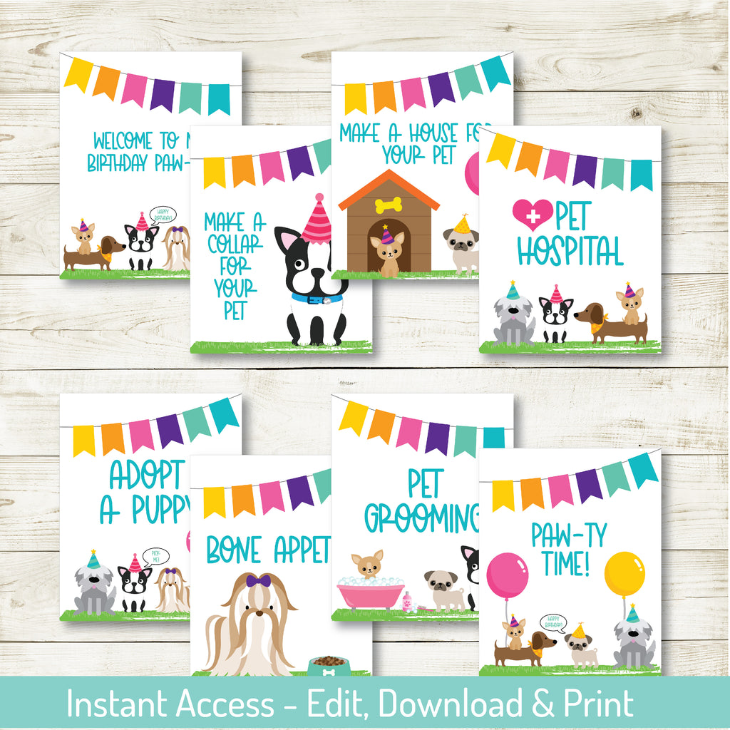 Puppy Party Signs| Puppy Party| Editable