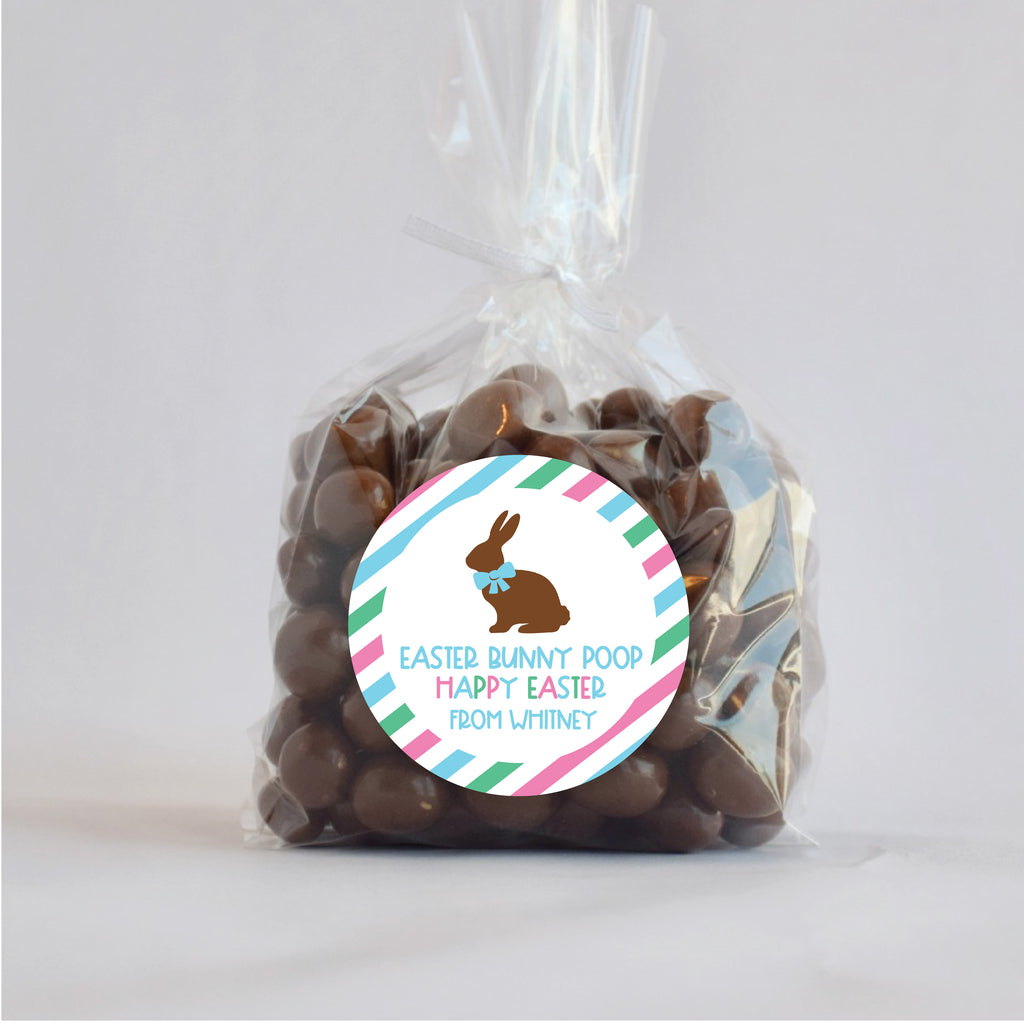 Easter Bunny Poop Blue Favor Stickers 2.5"
