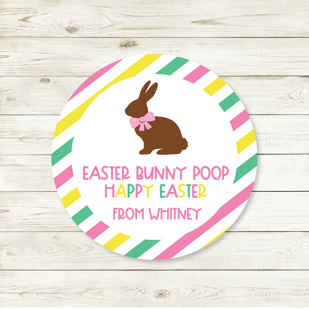 Easter Bunny Poop Pink Favor Stickers 2.5"