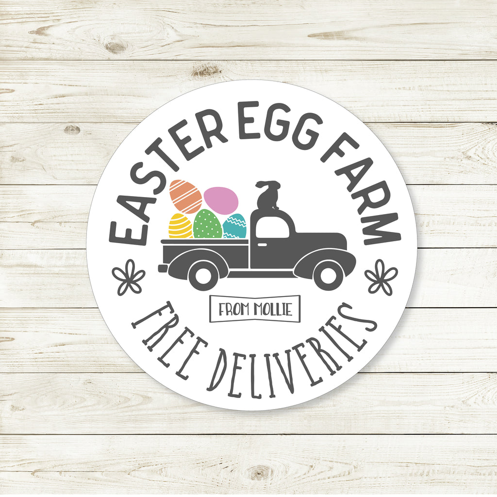 Easter Egg Farm Truck Favor Stickers 2.5"