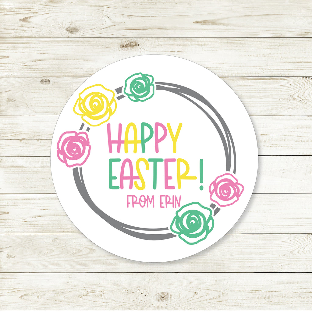 Easter Flower Wreath Favor Stickers 2.5"