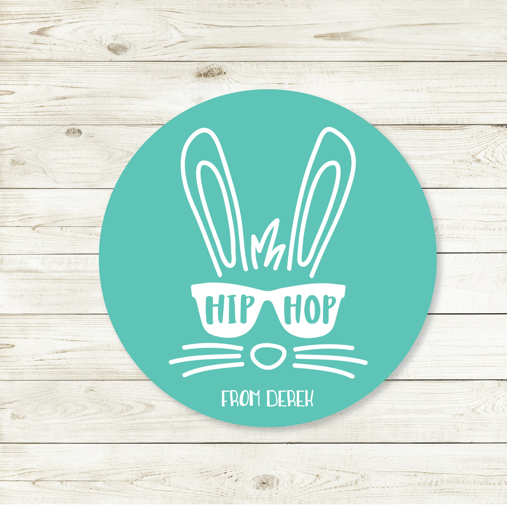 Easter Hip Hop Blue Favor Stickers 2.5"