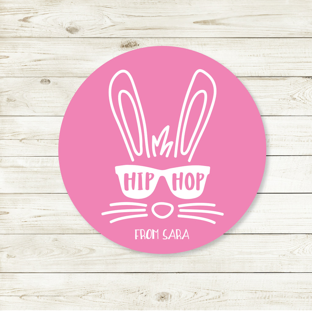 Easter Bunny Hip Hop Pink Favor Stickers 2.5"