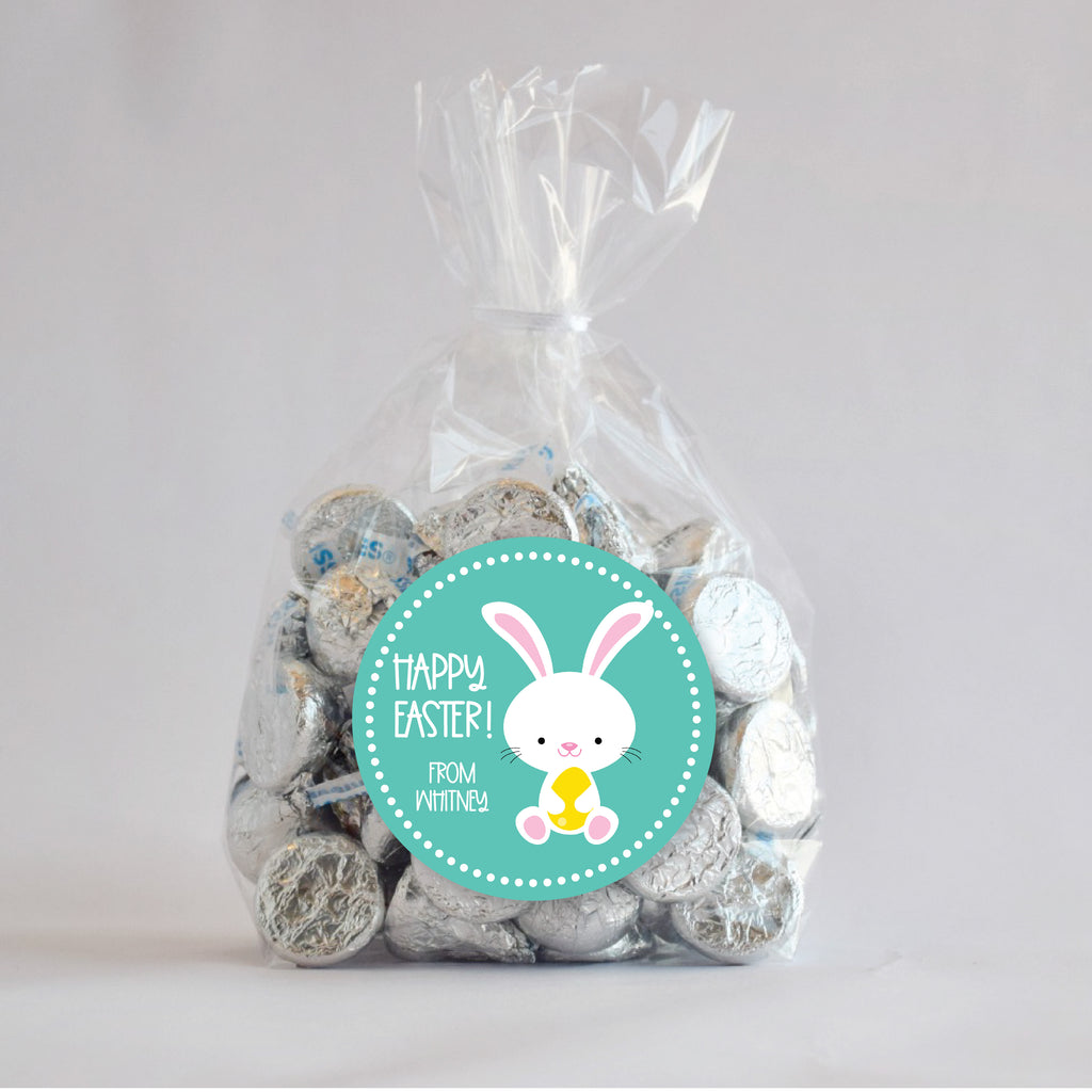 Easter White Bunny Favor Sticker Set 2.5"