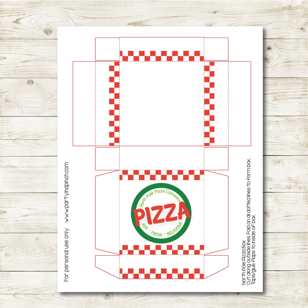 Christmas Elf Pizza Box, Elf Printable, Instant Download