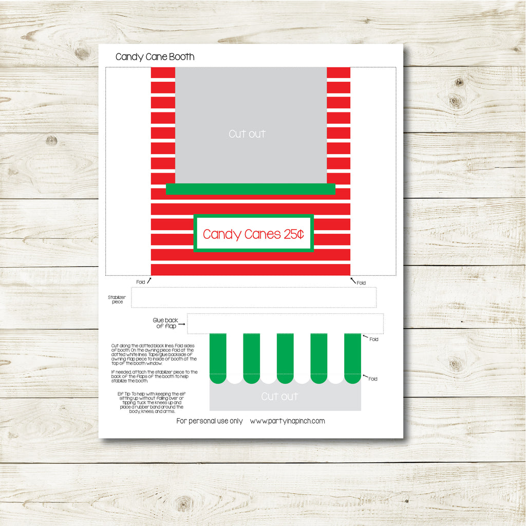 Christmas Elf Candy Cane Booth Kit, Elf Printable, Instant Download