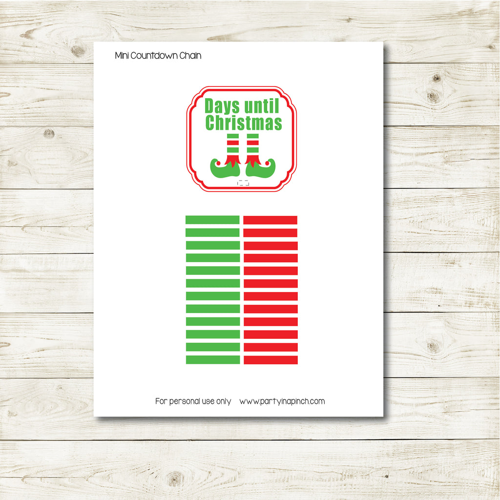 Christmas Elf Mini Countdown Kit, Elf Printable, Instant Download