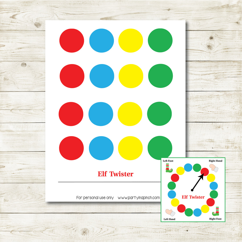 Christmas Elf Twister Kit, Elf Printable, Instant Download