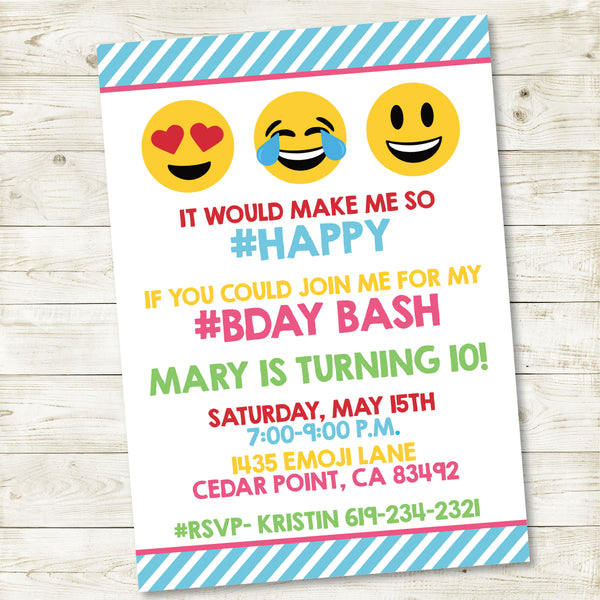 EMOJI PARTY CUSTOM INVITATION| EMOJI PARTY