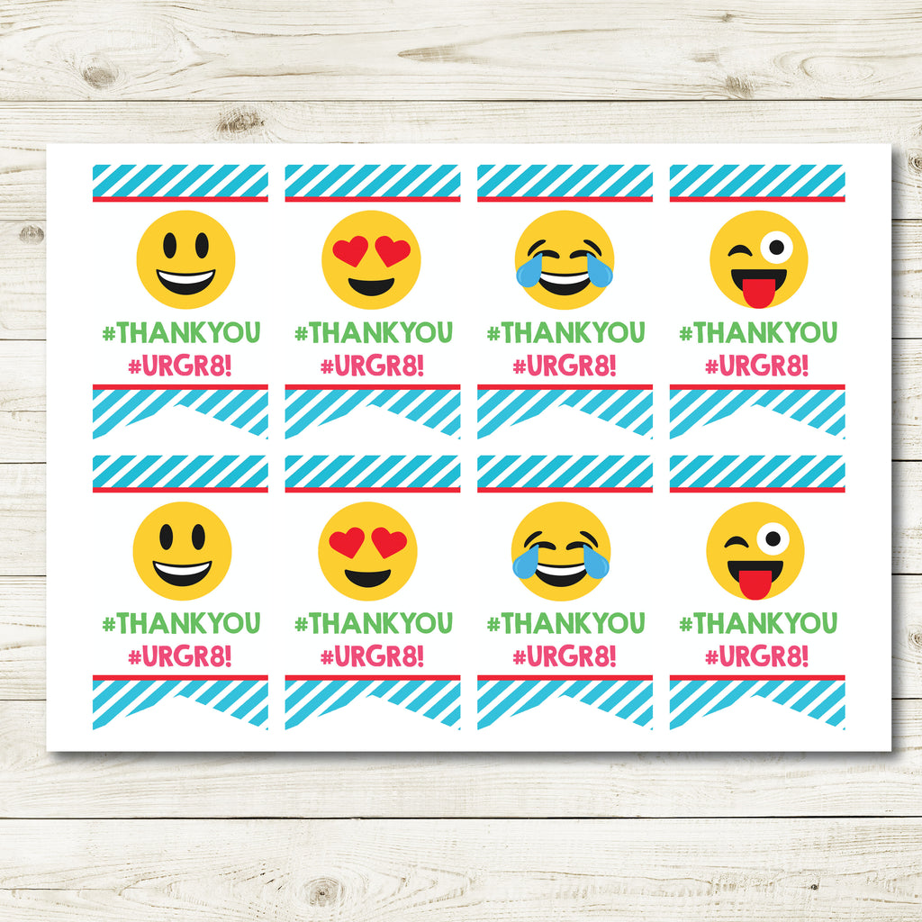EMOJI BIRTHDAY THANK YOU TAGS| EMOJI BIRTHDAY| INSTANT DOWNLOAD