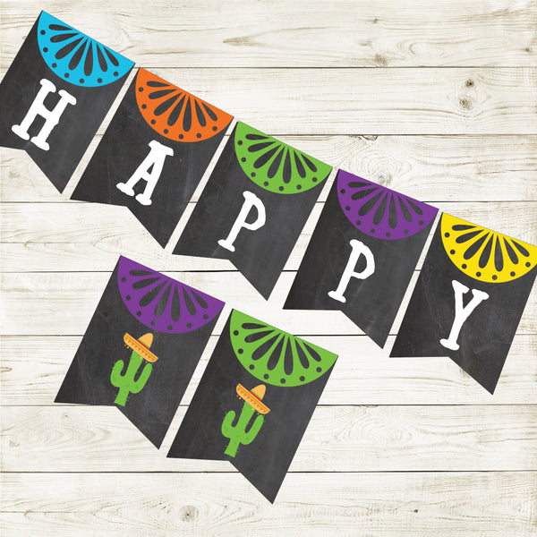 FIESTA CHALKBOARD HAPPY BIRTHDAY BANNER| CACTUS PARTY| INSTANT DOWNLOAD