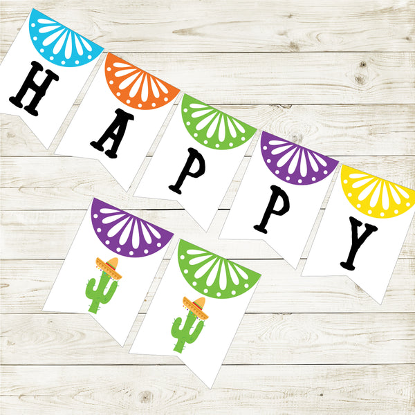 FIESTA HAPPY BIRTHDAY BANNER| CACTUS PARTY| INSTANT DOWNLOAD