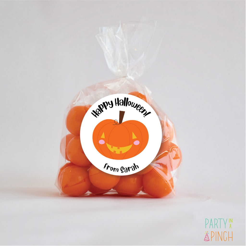 Happy Pumpkin Halloween Favor Stickers