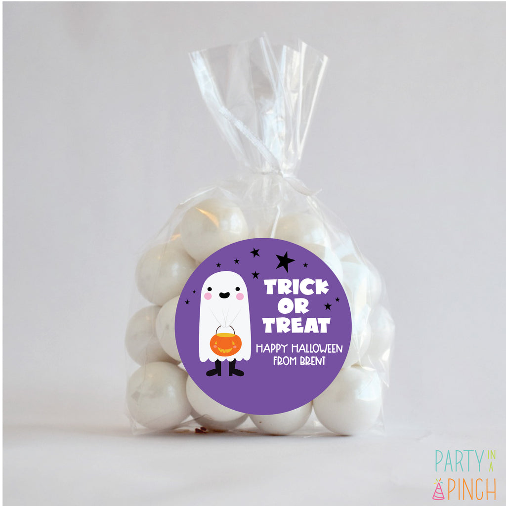 Ghost Kid Halloween Favor Stickers