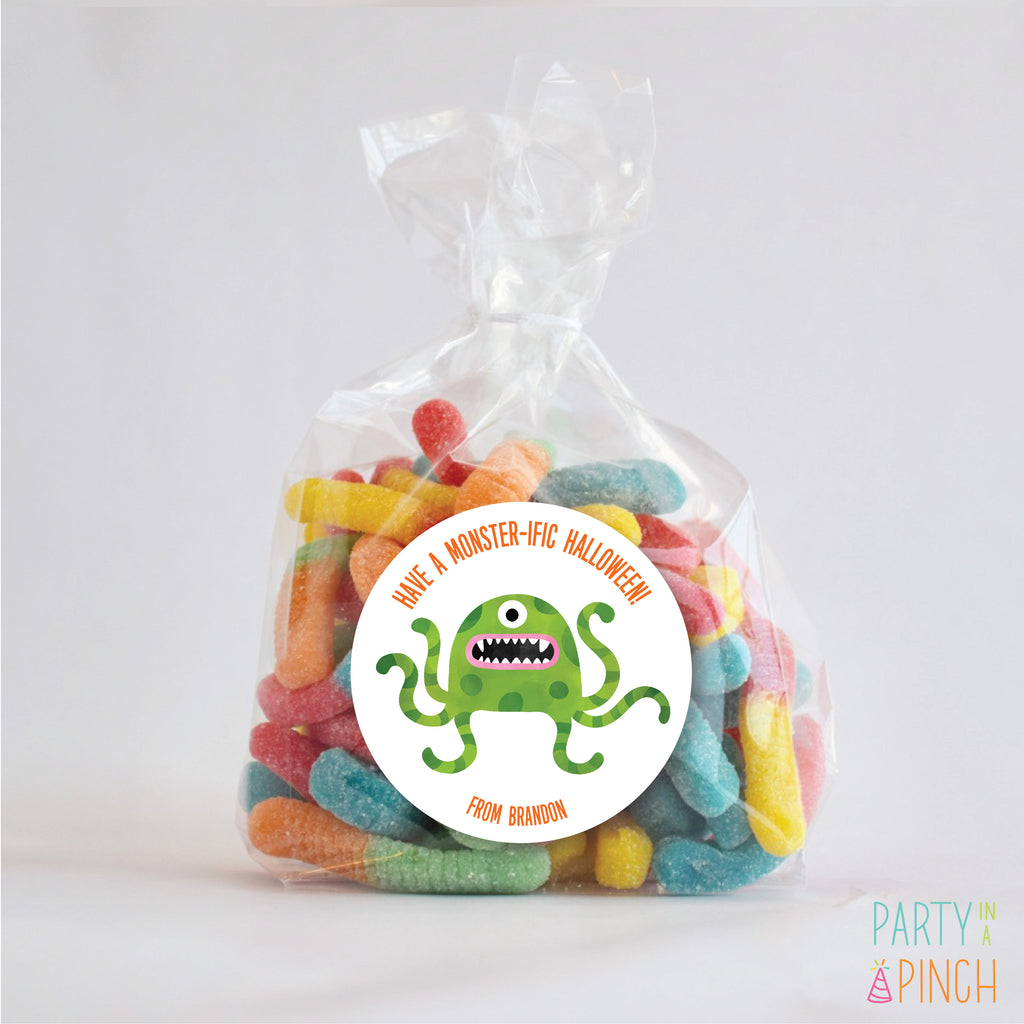 Green Monster Halloween Favor Sticker Set