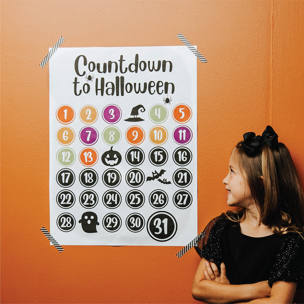 Halloween Countdown Poster and Stickers