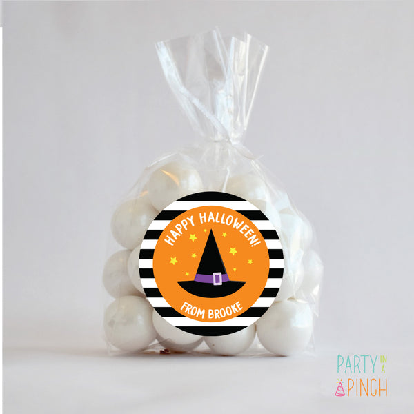 Witch Hat Halloween Favor Stickers