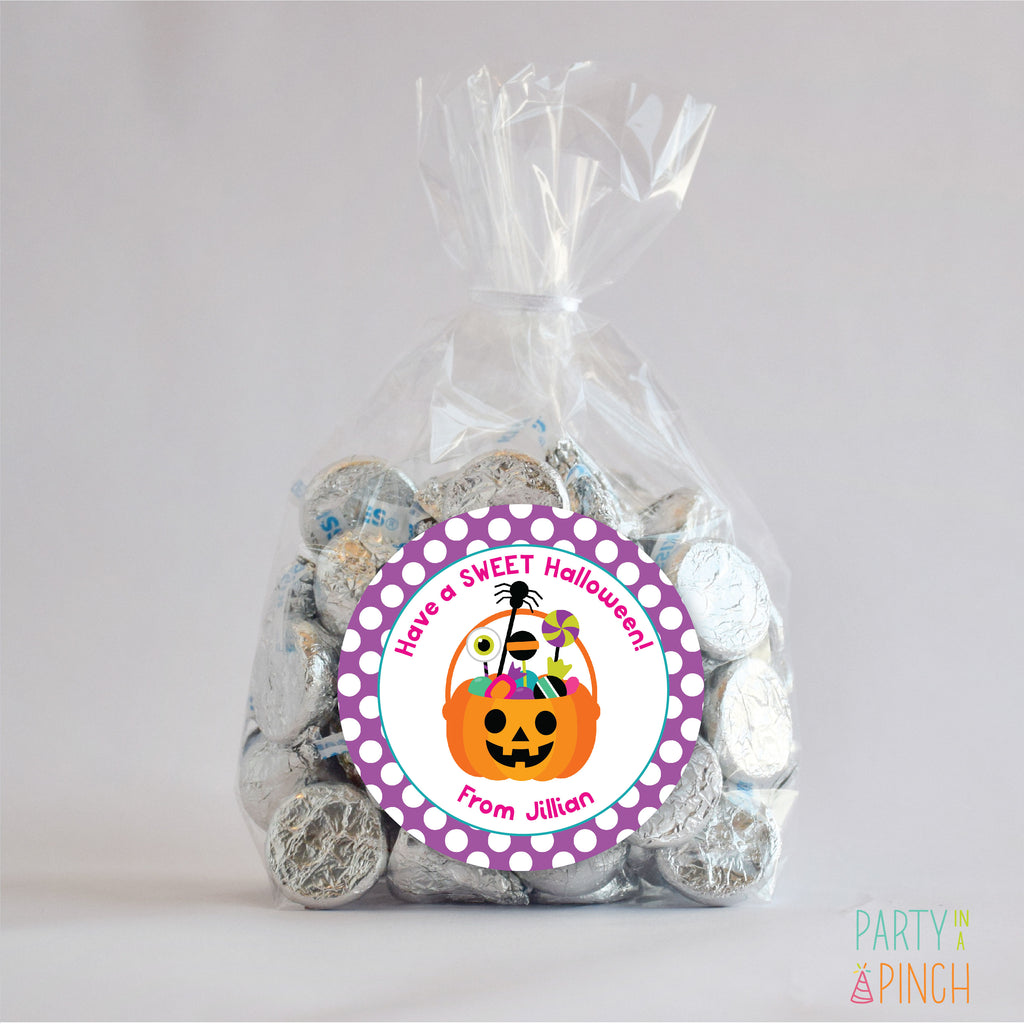 Halloween Pumpkin Bucket 2 Favor Sticker Set | 2.5""