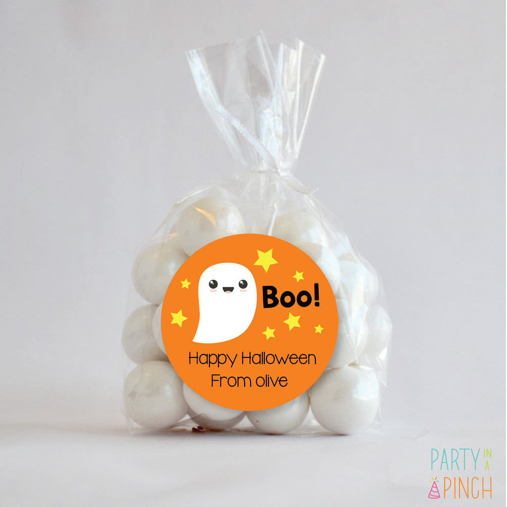 "Ghost ""Boo"" Halloween Favor Stickers-Orange"
