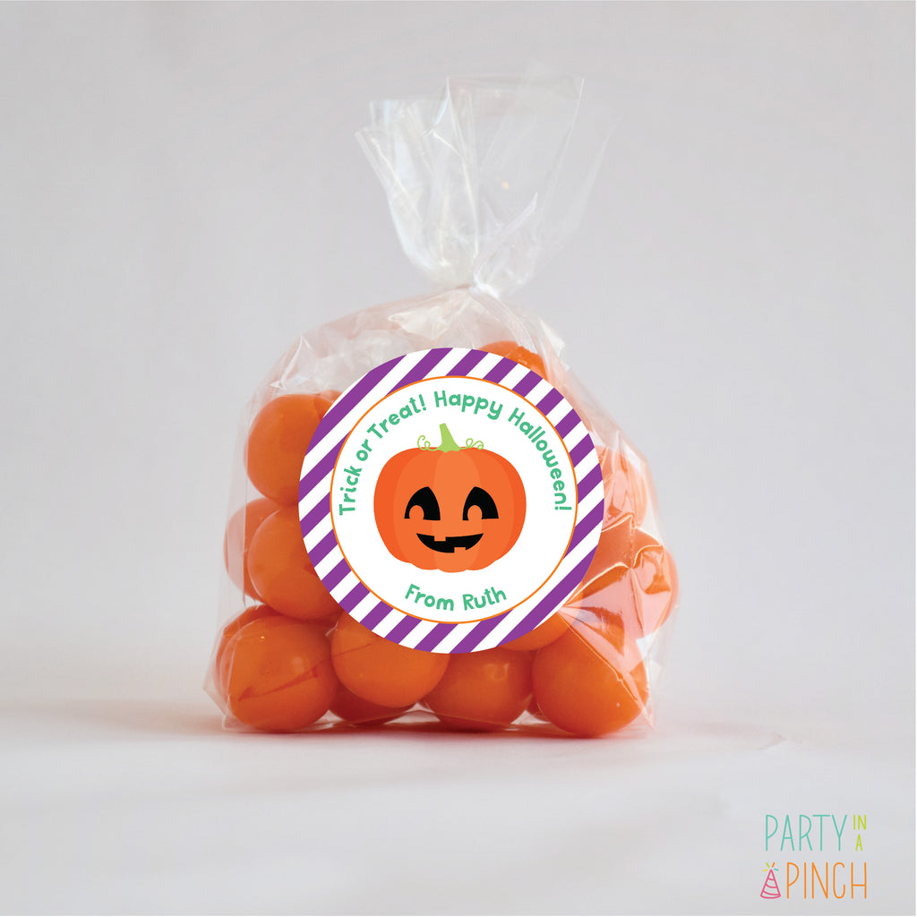 Pumpkin Halloween Favor Stickers