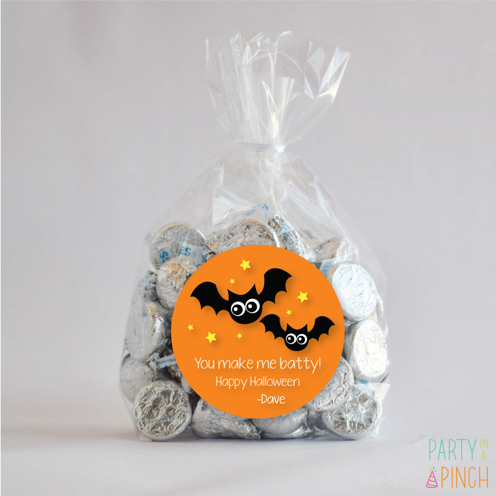 Batty Halloween Favor Stickers