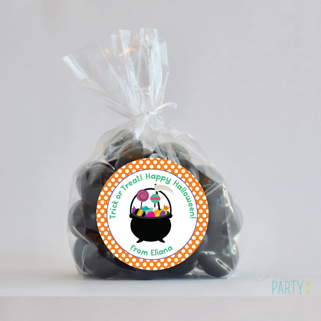 Candy Cauldron Halloween Favor Stickers