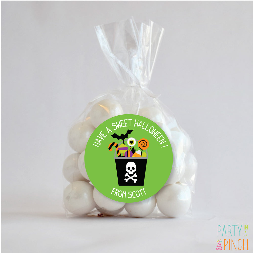 Skull Candy Bucket Halloween Favor Stickers