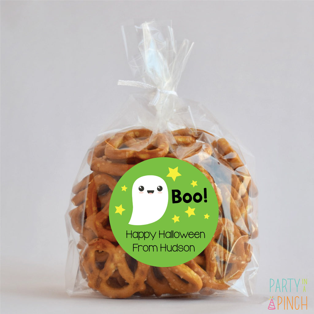 Ghost (Green) Halloween Favor Stickers
