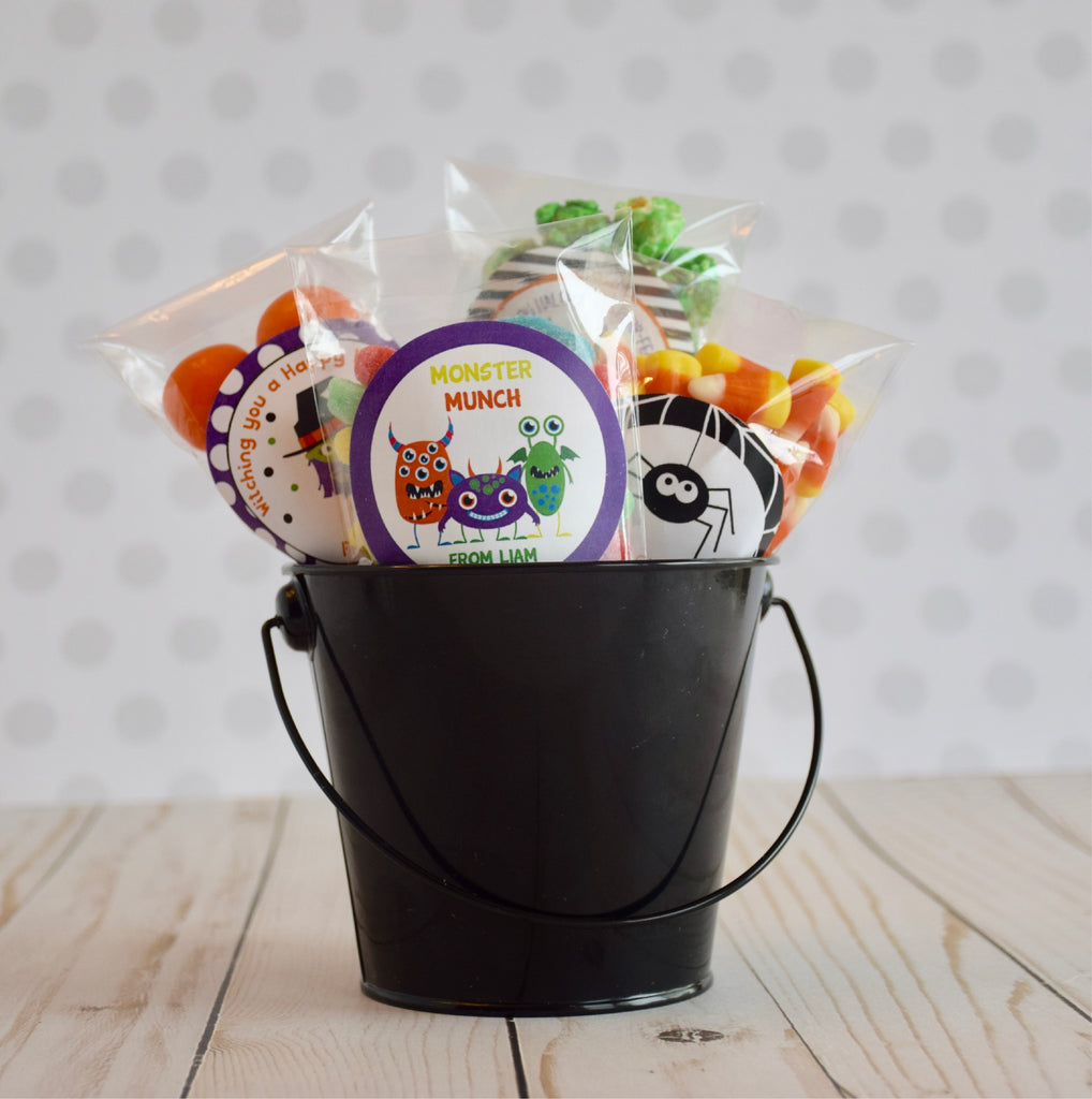 Pumpkin Candy Bucket Halloween Favor Stickers