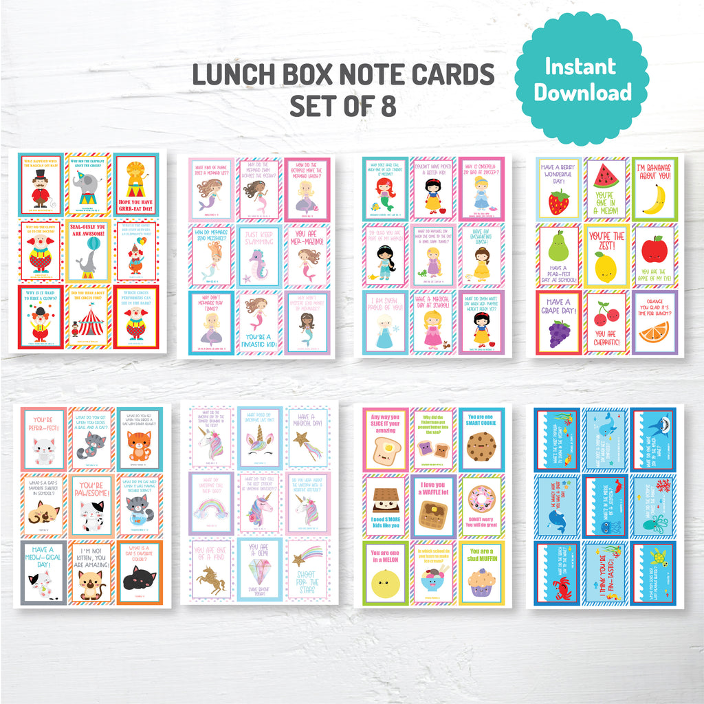 Lunch Box Cards Mega Pack 1| Instant Download