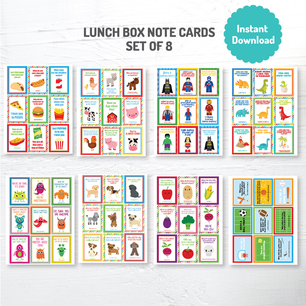 Lunch Box Cards Mega Pack 2| Instant Download