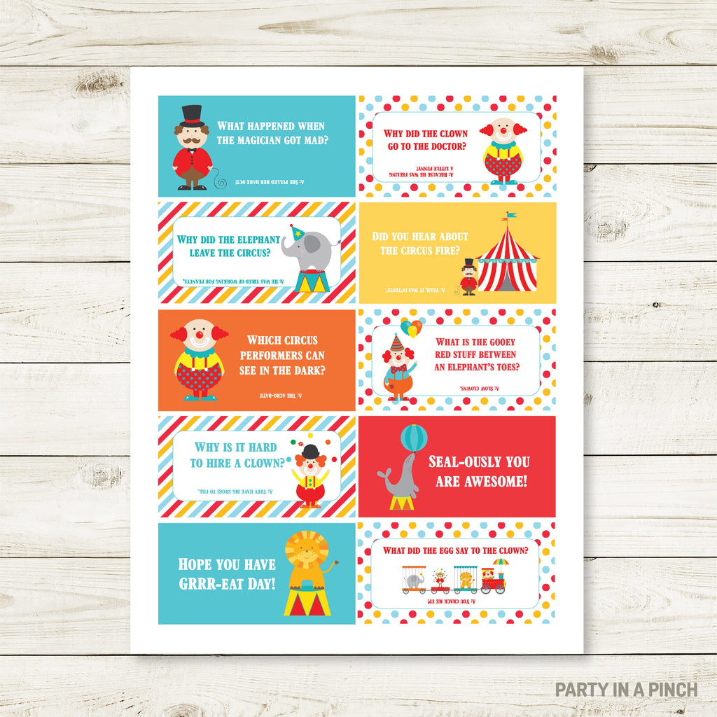 Circus Lunchbox Stickers| Lunch Notes