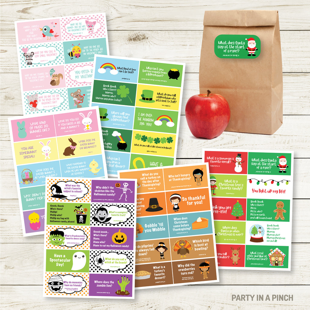 Holiday Lunchbox Sticker Pack| Lunch Notes| Set of 6