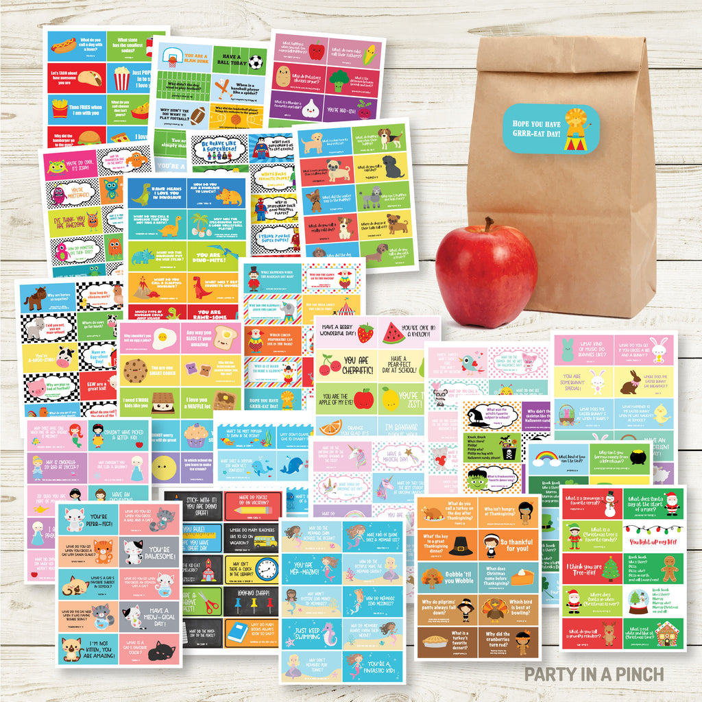 Mega Pack Lunchbox Sticker Sheets| Lunch Notes| Set of 24