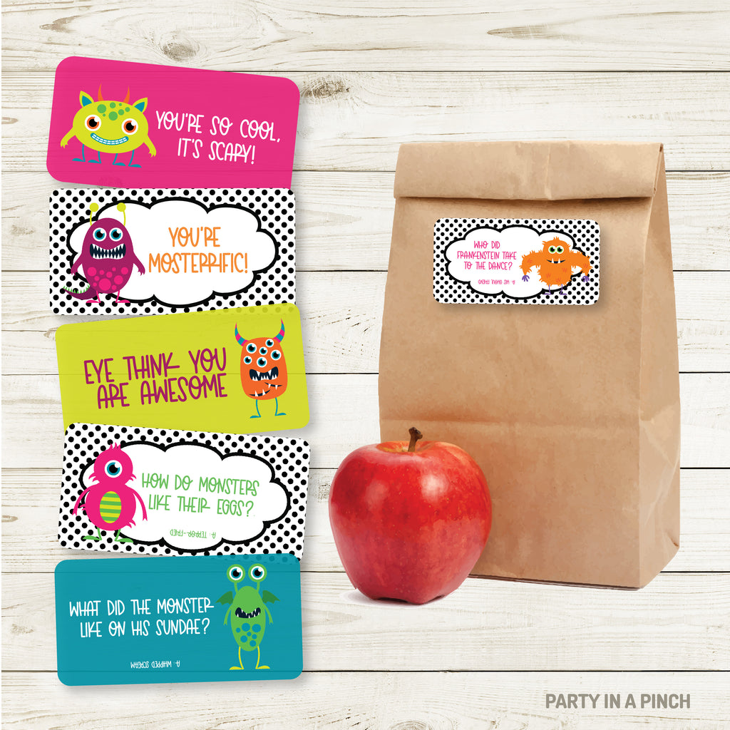 Monster Lunchbox Stickers| Lunch Notes