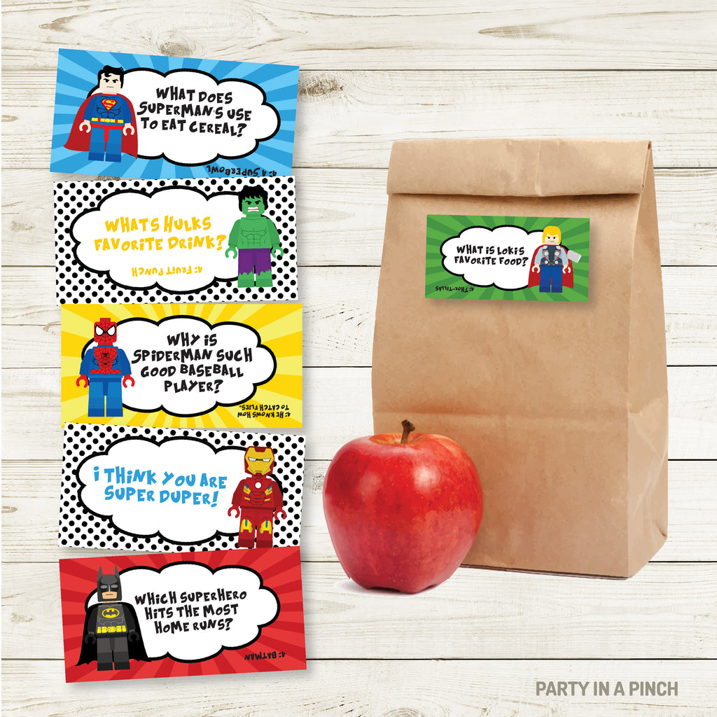 Superhero Lunchbox Stickers| Lunch Notes