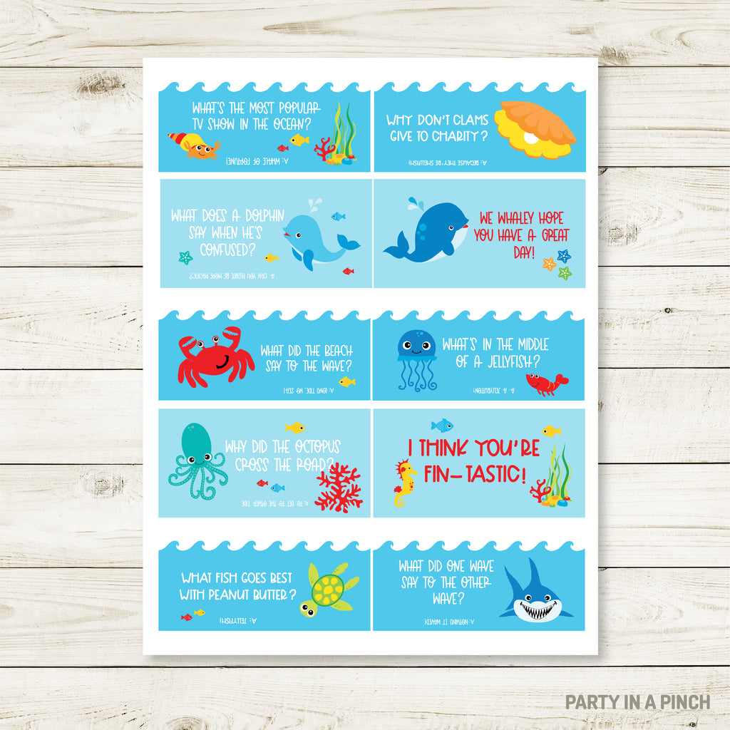 Under The Sea Lunchbox Stickers| Lunch Notes