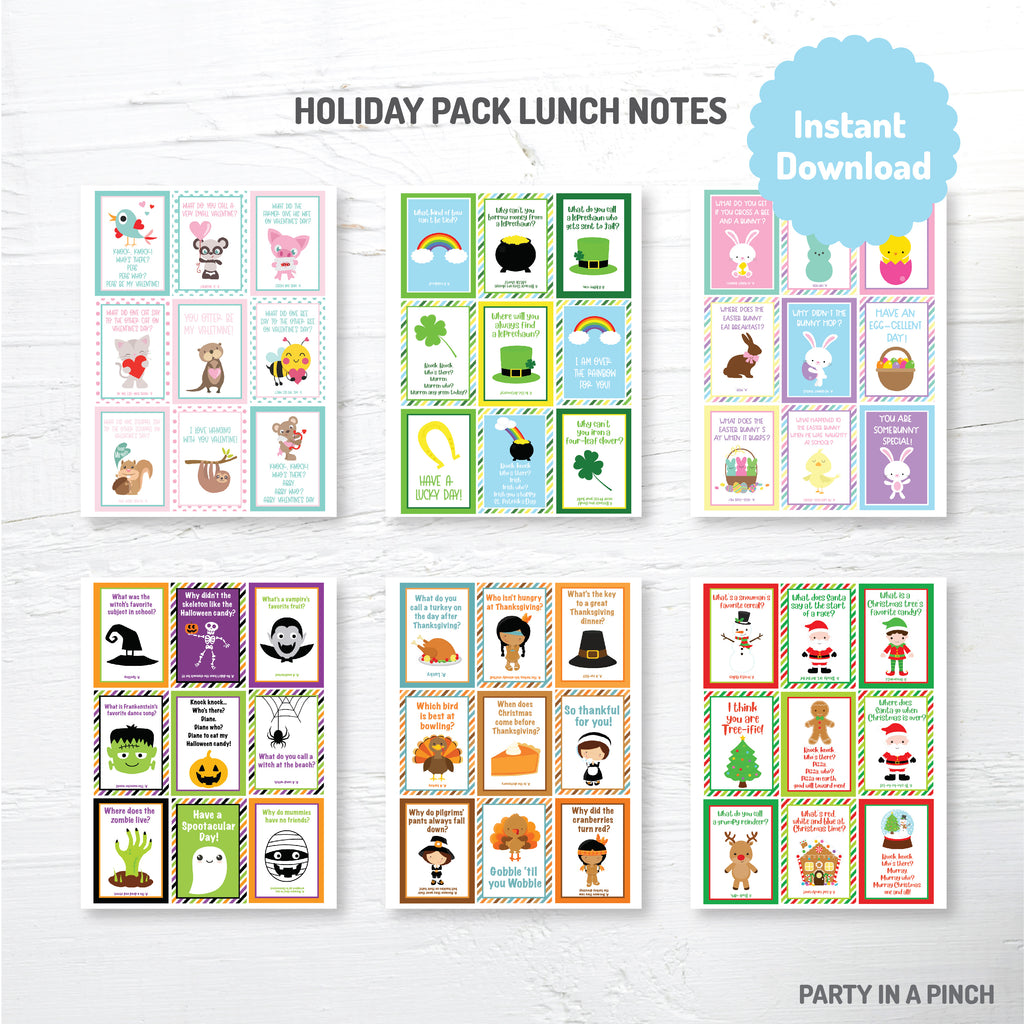 Holiday Pack Lunch Box Notes| Instant Download