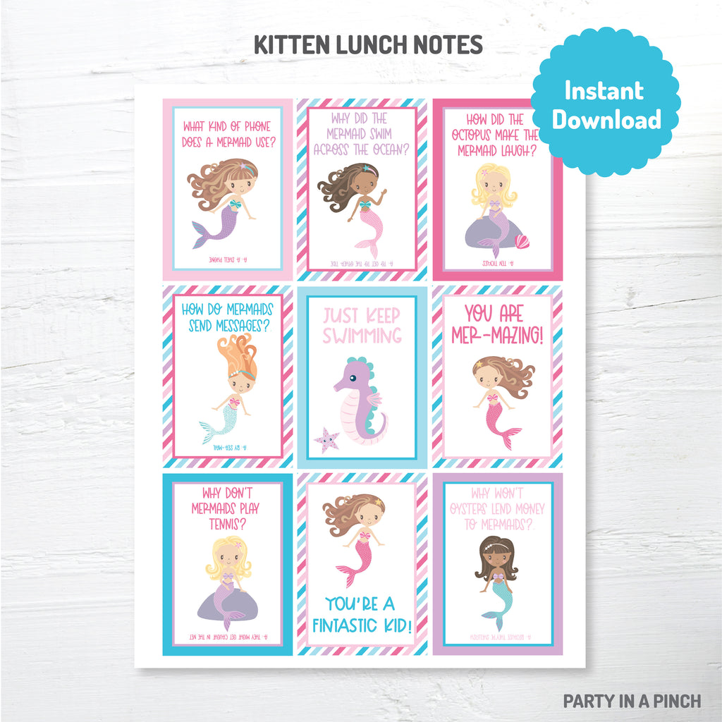 Mermaid Lunch Box Notes| Instant Download